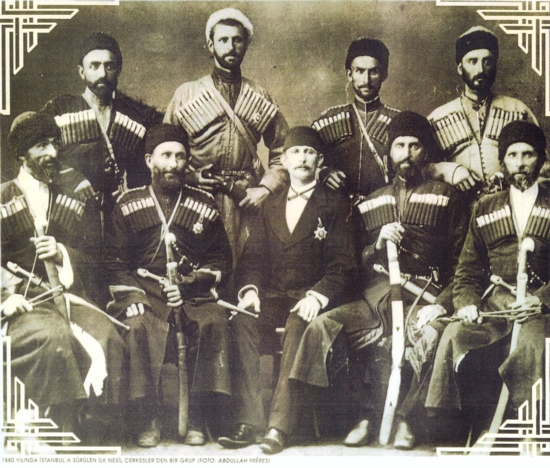 In Istanbul on an old building's attic photo of group of first Circassians-immigrants was found